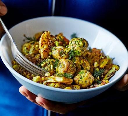 Chicken meatballs with quinoa & curried cauliflower