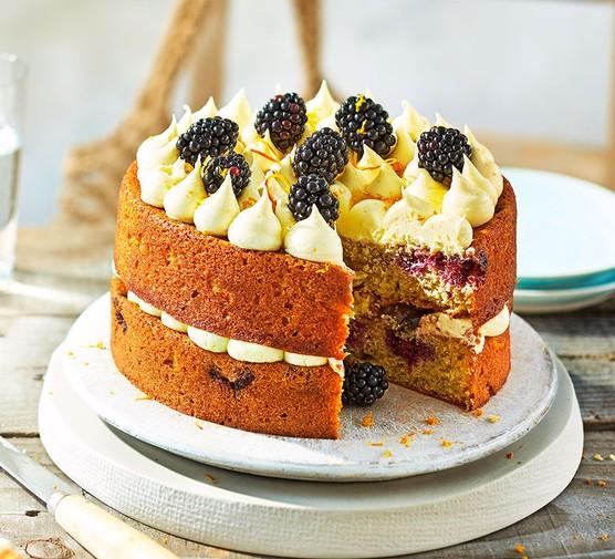 Blackberry & orange cake on a platter