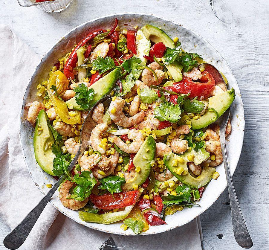 Roast corn, prawn, pepper & avocado salad