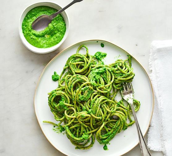 Vegan kale pesto pasta served on a plate