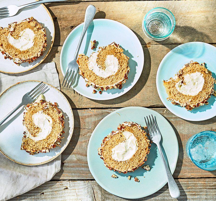Maple pear, pecan & mascarpone roulade