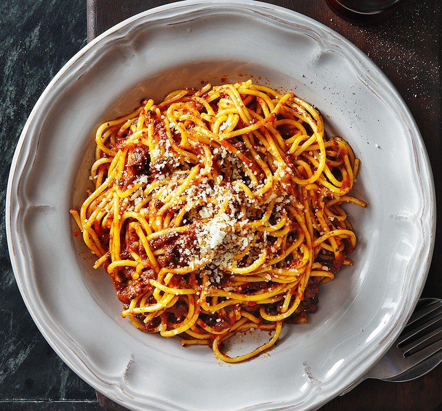 Mutant spaghetti bolognese