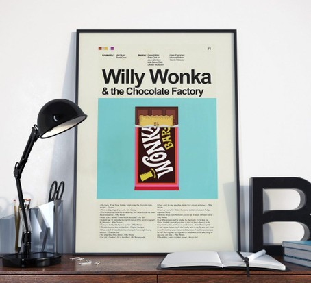 Willy Wonka Film Poster, best chocolate gifts