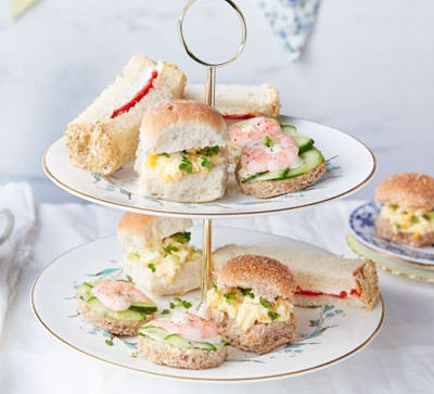 Sandwiches served on afternoon tea platter