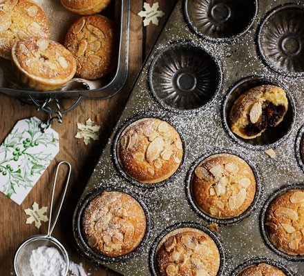 Almond-topped mince pies
