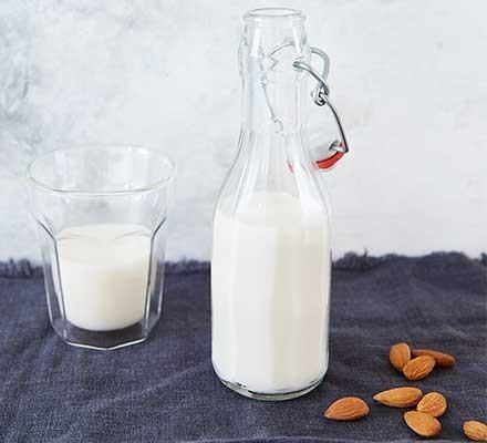 Almond milk served in a bottle