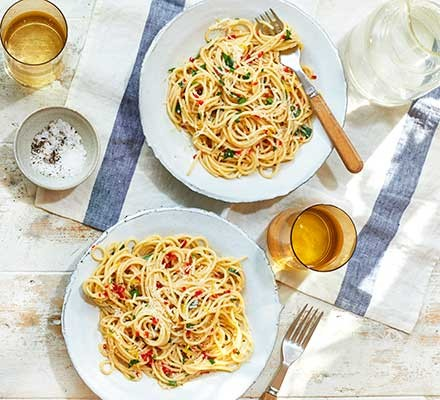 Two servings of Amalfi lemon, chilli & anchovy spaghetti