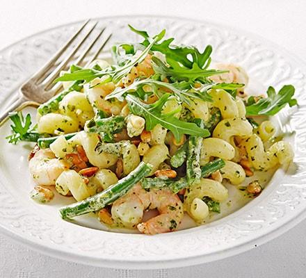 Anytime pesto & prawn pasta salad