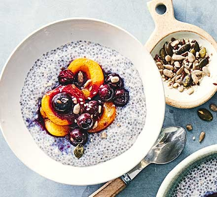 Apricot & seed overnight chia served in a breakfast bowl