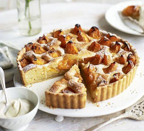 Apricot and frangipane tart sliced up