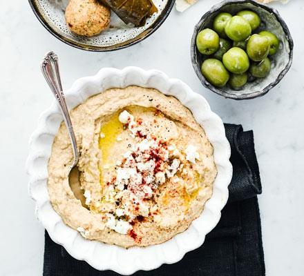 Artichoke baba ganoush in a bowl