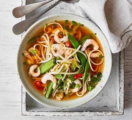 A bowl of Asian prawn noodles