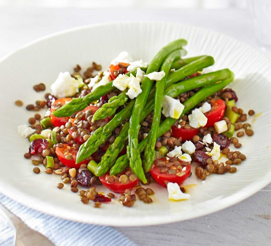 Asparagus & lentil salad with cranberries & crumbled feta