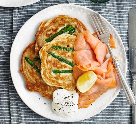 Asparagus pancakes with smoked salmon