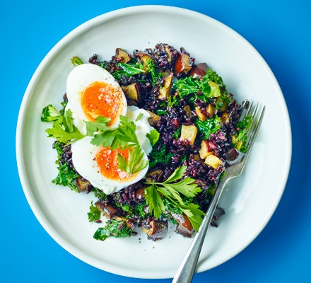 Soft-boiled eggs with black rice & aubergine