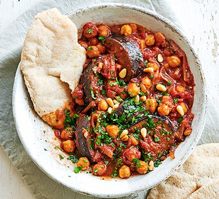 Aubergine & chickpea stew served in a bowl