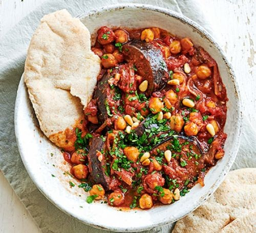 A bowl of aubergine and chickpea stew