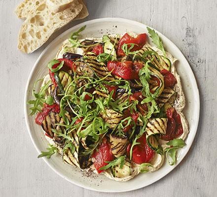 Layered hummus & griddled vegetable salad