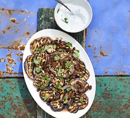 Griddled aubergine salad with sultanas & pine nuts