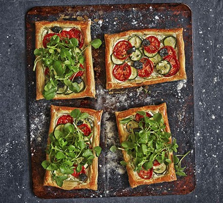 Herbed goat's cheese & summer veg tarts