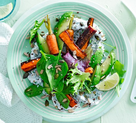 Avocado, labneh, roasted carrots & leaves