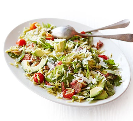 Bacon & avocado warm pasta salad