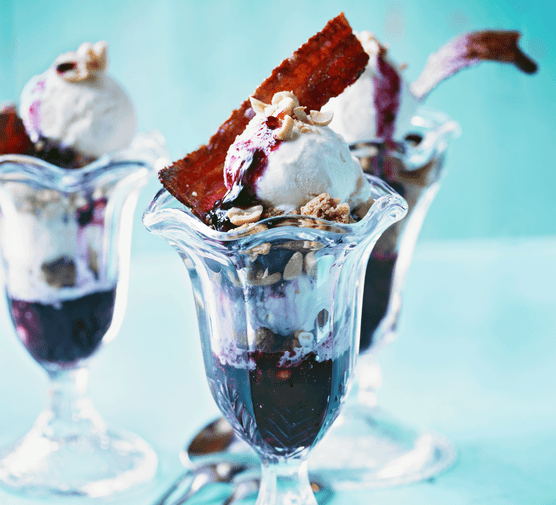 Blueberry sundae with candied bacon