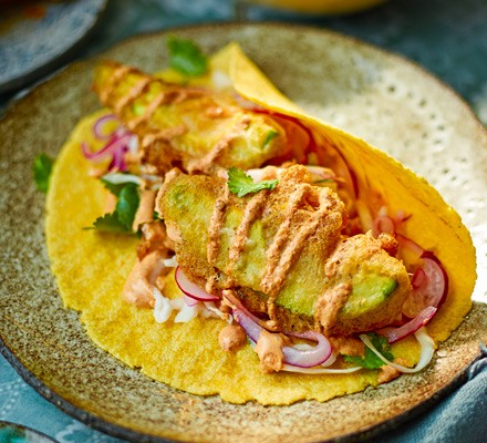 Baja avocado tacos with chipotle cream & pickled slaw