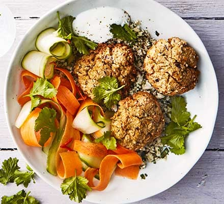 Baked falafel & cauliflower tabbouleh with pickled carrot, cucumber & chilli salad