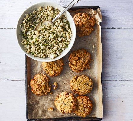 Falafel on tray with tabbouleh in bowl