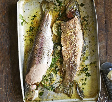 Simple herb-baked trout & horseradish