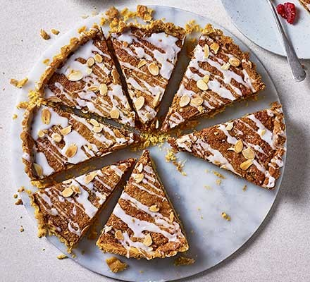 Next level bakewell tart cut into slices