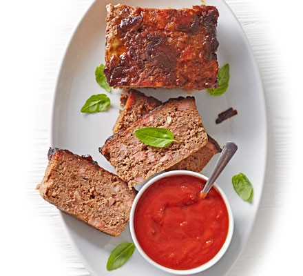 Beef & bacon meatloaf with tomato sauce
