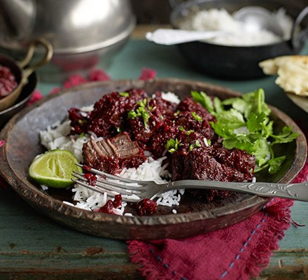 Slow-cooked beetroot & beef curry (Chukandar Gosht)