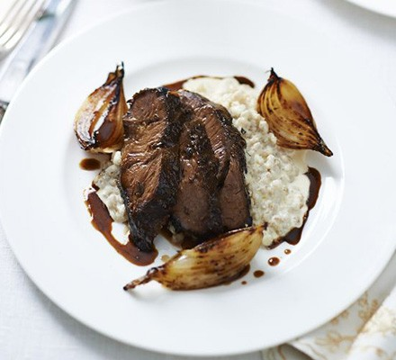 Beer-braised beef cheek, pearl barley risotto, malted onions & ale sauce