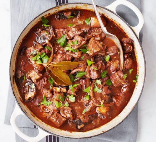Beef stew in a casserole dish