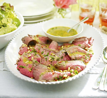 Roast beef platter with chilli, pine nut & parsley dressing