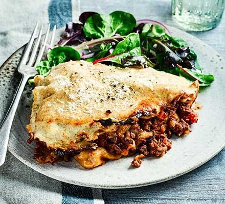 A plate serving slow cooker lasagne