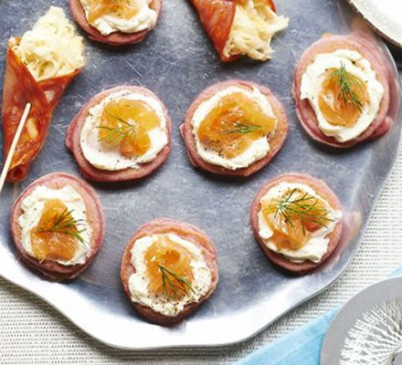 Beetroot blinis with smoked salmon