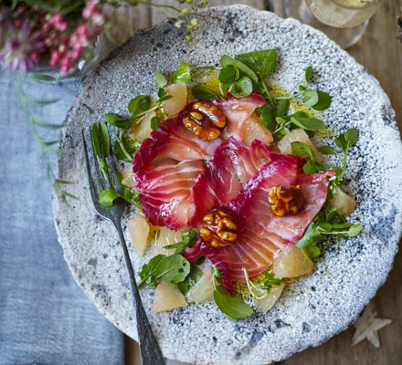 Beetroot-cured salmon with citrus salad & caramelised walnuts