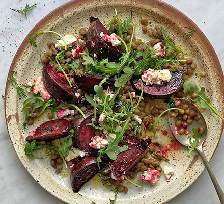 Roasted beetroot & raw honey salad served on a plate