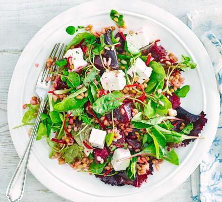 Beetroot, feta & grain salad