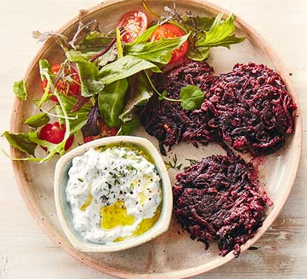Beetroot latkes served with salad