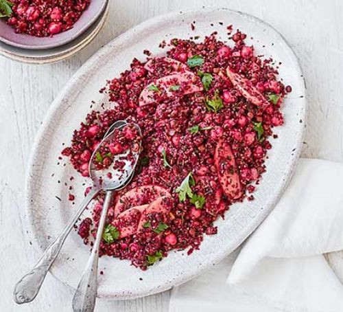 Beetroot & lentil tabbouleh on a plate