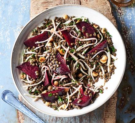 Beetroot, lentil, celeriac & hazelnut salad