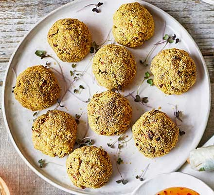 Aubergine & chickpea bites on a serving platter