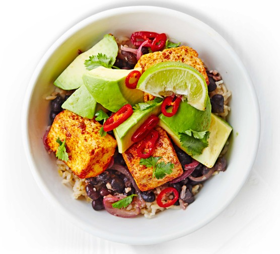 Black bean, tofu & avocado rice bowl