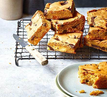Caramel pear blondies cut into squares