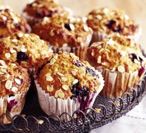 Blueberry and oat muffins in paper cases