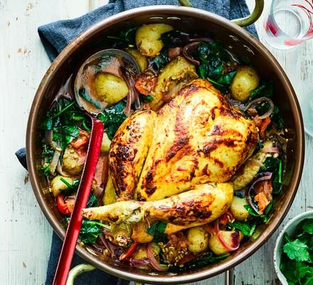 Pot-roast Bombay chicken